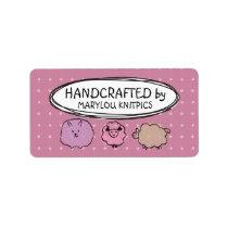Cute doodle watercolor sheep knitting crochet label