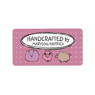 Cute doodle watercolor sheep knitting crochet label