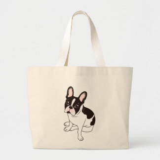 Cute double hooded pied French Bulldog Large Tote Bag