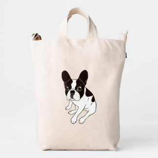Cute double hooded pied Frenchie is chilling Duck Bag