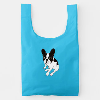 Cute double hooded pied Frenchie is chilling Reusable Bag