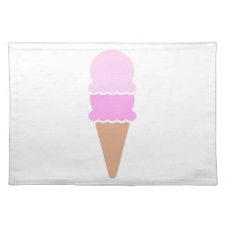 Cute Double Scoop Pink Ice Cream Cone Placemat