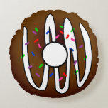 Cute Doughnut Chocolate Frosting and Sprinkles Round Pillow