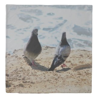 Cute Doves by the Ocean Picture Cool Duvet Cover