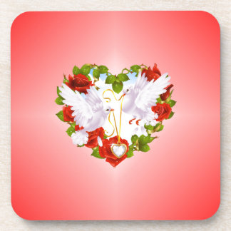 Cute Doves, Red Roses, Heart, Coaster
