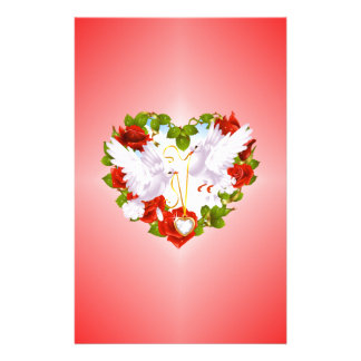 Cute Doves, Red Roses, Heart, Stationery