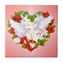 Cute Doves, Red Roses, Heart, Tile