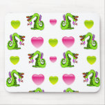 Cute Dragon And Hearts Mousepad
