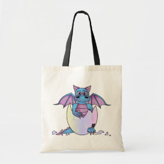 Cute Dragon Baby in Cracked Egg - Blue / Purple Tote Bags