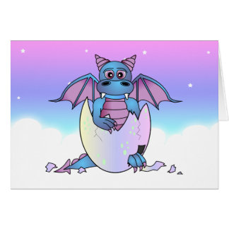 Cute Dragon Baby in Cracked Egg - Blue / Purple Card