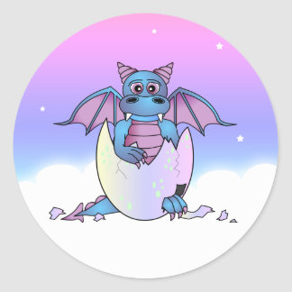 Cute Dragon Baby in Cracked Egg - Blue / Purple Classic Round Sticker