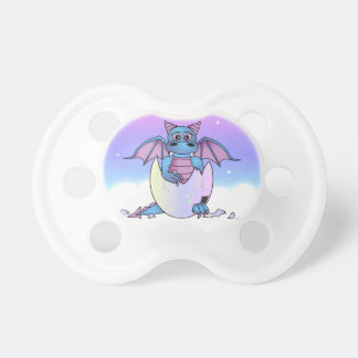 Cute Dragon Baby in Cracked Egg - Blue / Purple Pacifier