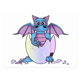 Cute Dragon Baby in Cracked Egg - Blue / Purple Postcard