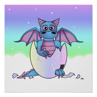 Cute Dragon Baby in Cracked Egg - Blue / Purple Poster