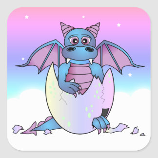Cute Dragon Baby in Cracked Egg - Blue / Purple Square Sticker