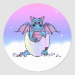 Cute Dragon Baby in Cracked Egg - Blue / Purple Stickers