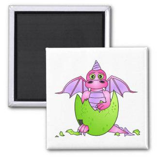 Cute Dragon Baby in Cracked Egg - Pink / Purple 2 Inch Square Magnet