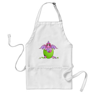 Cute Dragon Baby in Cracked Egg - Pink / Purple Apron