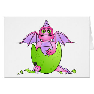 Cute Dragon Baby in Cracked Egg - Pink / Purple Card