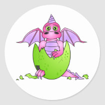 Cute Dragon Baby in Cracked Egg - Pink / Purple Classic Round Sticker