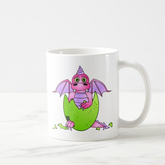 Cute Dragon Baby in Cracked Egg - Pink / Purple Coffee Mug