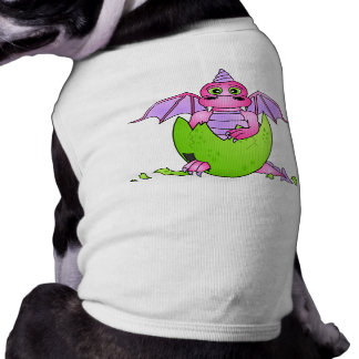 Cute Dragon Baby in Cracked Egg - Pink Purple Pet T Shirt