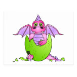 Cute Dragon Baby in Cracked Egg - Pink / Purple Postcards