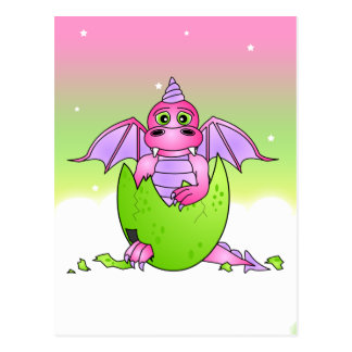 Cute Dragon Baby in Cracked Egg - Pink Purple Postcard