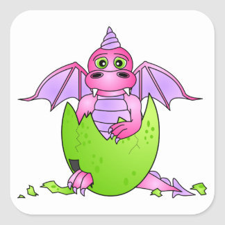 Cute Dragon Baby in Cracked Egg - Pink / Purple Square Sticker
