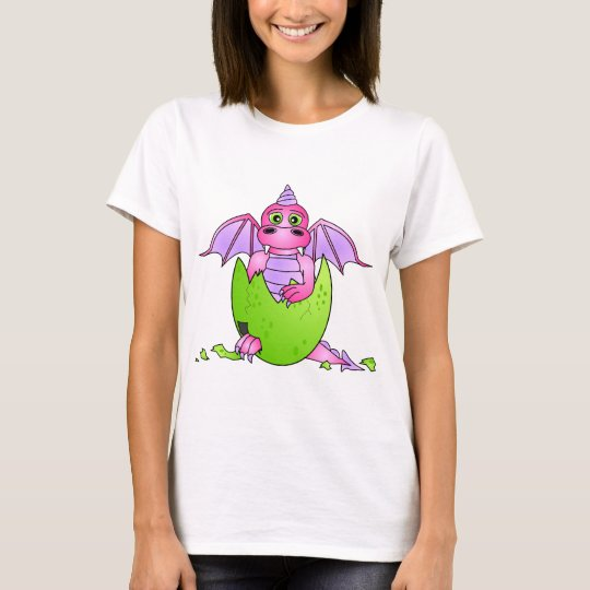 Cute Dragon Baby in Cracked Egg - Pink / Purple T-Shirt