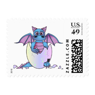 Cute Dragon Baby in Cracked Egg Postage Stamp