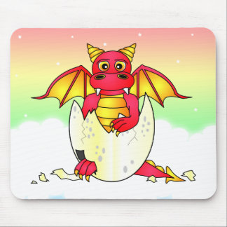 Cute Dragon Baby in Cracked Egg - Red / Purple Mouse Pad