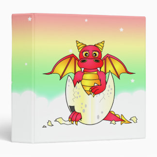 Cute Dragon Baby in Cracked Egg - Red / Yellow 3 Ring Binder
