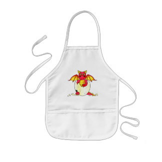Cute Dragon Baby in Cracked Egg - Red / Yellow Aprons