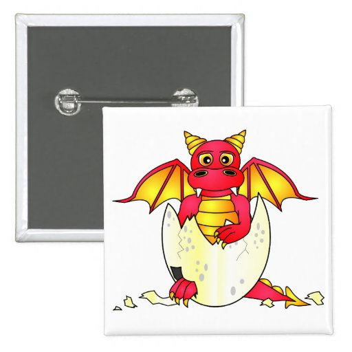 Cute Dragon Baby in Cracked Egg - Red / Yellow Button