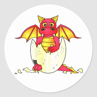 Cute Dragon Baby in Cracked Egg - Red / Yellow Classic Round Sticker