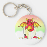 Cute Dragon Baby in Cracked Egg - Red / Yellow Keychain
