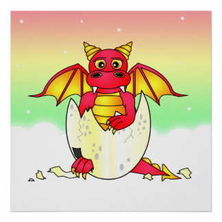 Cute Dragon Baby in Cracked Egg - Red / Yellow Poster