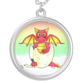 Cute Dragon Baby in Cracked Egg - Red / Yellow Round Pendant Necklace