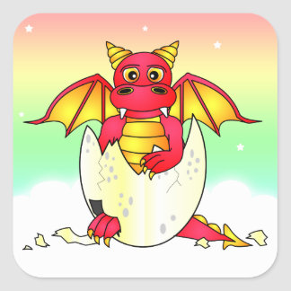 Cute Dragon Baby in Cracked Egg - Red / Yellow Square Sticker