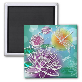 Cute Dragon Fly Pretty Summer Colors Modern Floral 2 Inch Square Magnet