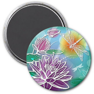 Cute Dragon Fly Pretty Summer Colors Modern Floral 3 Inch Round Magnet