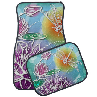 Cute Dragon Fly Pretty Summer Colors Modern Floral Car Floor Mat