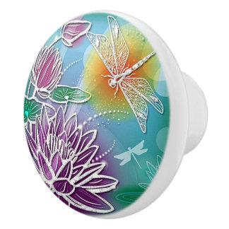 Cute Dragon Fly Pretty Summer Colors Modern Floral Ceramic Knob