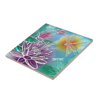 Cute Dragon Fly Pretty Summer Colors Modern Floral Tile