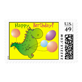 Cute Dragon Happy Birthday Postage Stamps