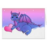 Cute Dragon Heart Card Blue - Pink -Purple