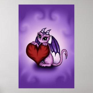 cute Dragon heart poster