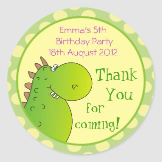 Cute Dragon Kids Thank You Stickers,Dino Sticker