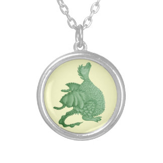 cute dragon mythical and fantasy creature art silver plated necklace